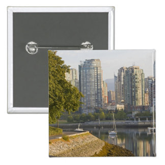 Cyclist along the Seawall Trail in downtown 2 Inch Square Button