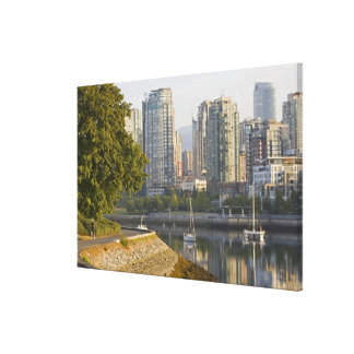 Cyclist along the Seawall Trail in downtown Canvas Print