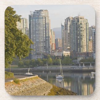 Cyclist along the Seawall Trail in downtown Drink Coaster