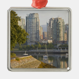 Cyclist along the Seawall Trail in downtown Square Metal Christmas Ornament