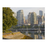 Cyclist along the Seawall Trail in downtown Post Card