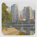 Cyclist along the Seawall Trail in downtown Square Stickers