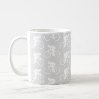 Cyclist and Bicycle Pattern in Gray. Coffee Mug