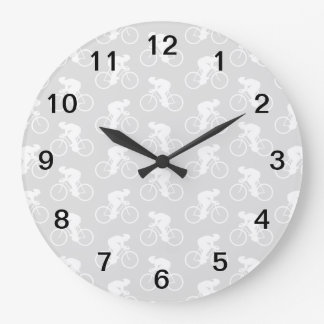 Cyclist and Bicycle Pattern in Gray. Large Clock