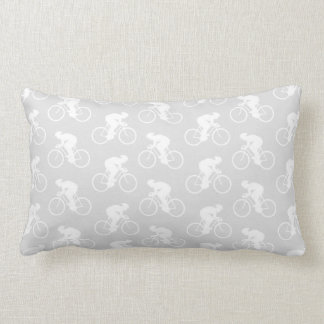 Cyclist and Bicycle Pattern in Gray. Lumbar Pillow