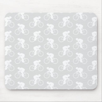 Cyclist and Bicycle Pattern in Gray. Mouse Pad