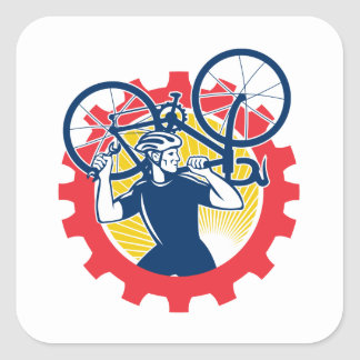 Cyclist Bicycle Mechanic Carrying Bike Sprocket Re Square Sticker