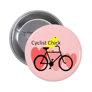 cyclist CHICK--Biking, Bicycle Enthusiast Gifts Pinback Button