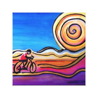 Cyclist Colorful Road Original Art Canvas Print