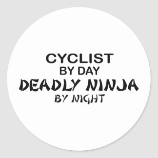 Cyclist Deadly Ninja by Night Round Stickers