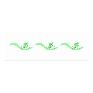 Cyclist Design in Green. Mini Business Card