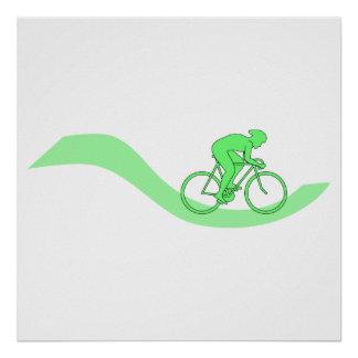 Cyclist Design in Green. Poster