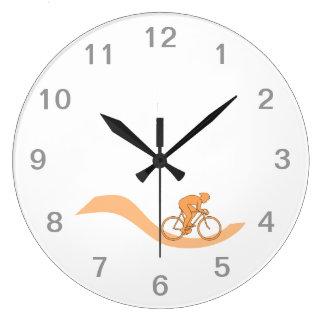 Cyclist Design in Orange. Large Clock