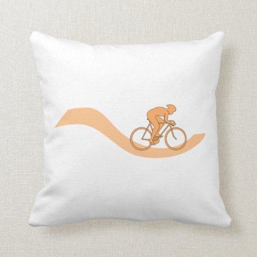 Cyclist Design in Orange. Pillows