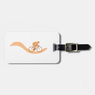 Cyclist Design in Orange. Travel Bag Tags
