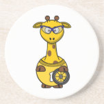 Cyclist Giraffe Cartoon Beverage Coasters