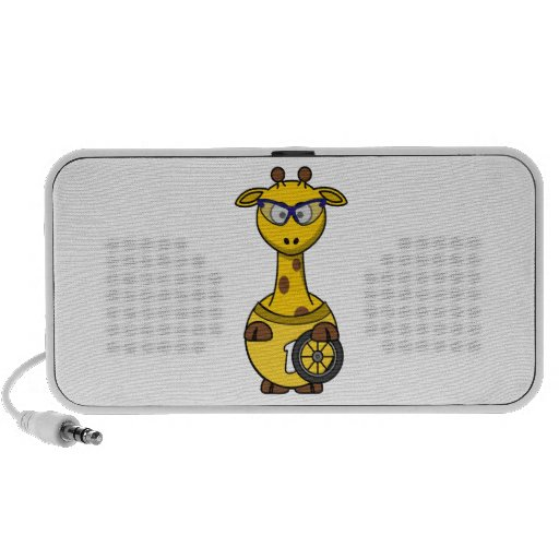 Cyclist Giraffe Cartoon Mini Speakers