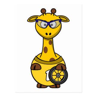 Cyclist Giraffe Post Cards