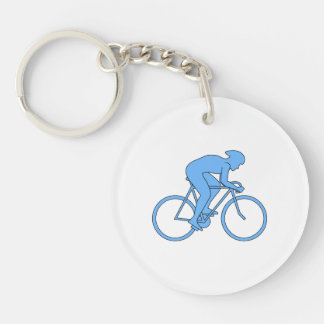 Cyclist in a Race. Blue. Keychain