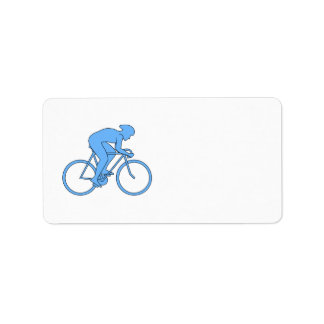 Cyclist in a Race. Blue. Label