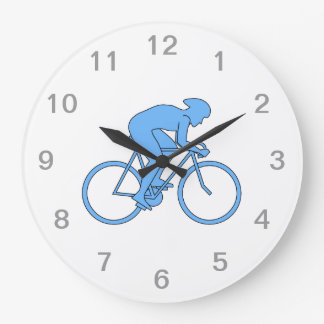 Cyclist in a Race. Blue. Large Clock