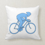 Cyclist in a Race. Blue. Pillow