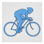 Cyclist in a Race. Blue. Poster