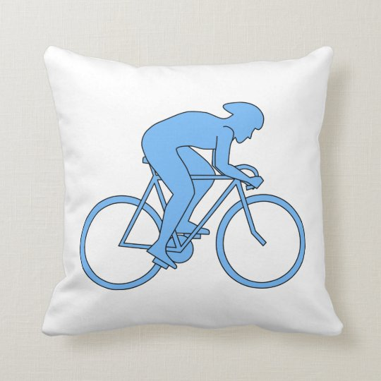 Cyclist in a Race. Blue. Throw Pillow