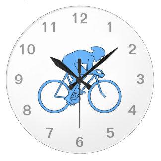 Cyclist in a Race. Blue. Wallclocks