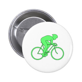 Cyclist in Green. 2 Inch Round Button
