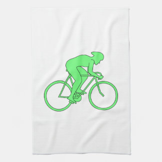 Cyclist in Green. Kitchen Towel