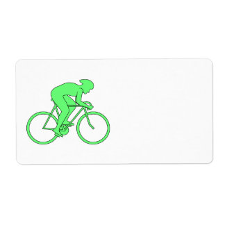 Cyclist in Green. Label