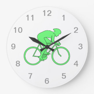 Cyclist in Green. Large Clock