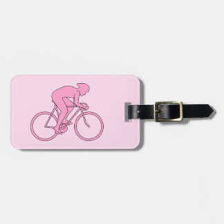 Cyclist in Pink Bag Tag