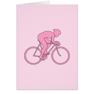 Cyclist in Pink Greeting Card