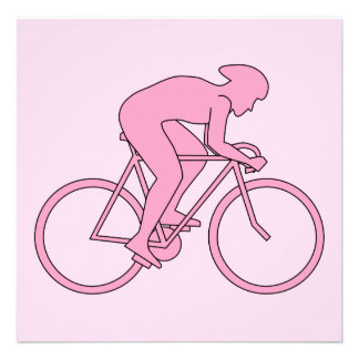 Cyclist in Pink Personalized Invites