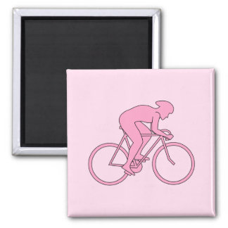 Cyclist in Pink Refrigerator Magnets
