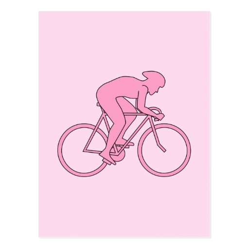 Cyclist in Pink Postcards