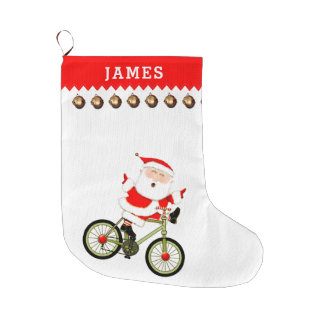 Cyclist Large Christmas Stocking