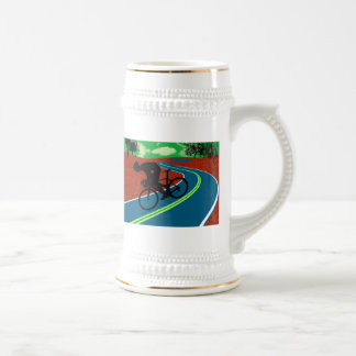 Cyclist on a Curved Highway Beer Stein