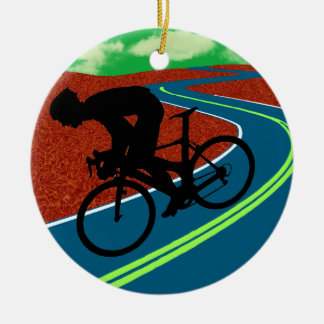 Cyclist on a Curved Highway Ceramic Ornament