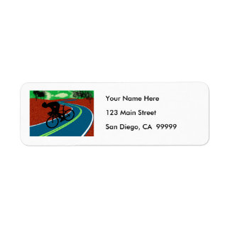 Cyclist on a Curved Highway Return Address Labels