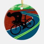 Cyclist on a Curved Highway Christmas Tree Ornament