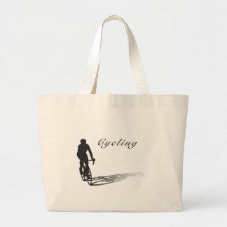 cyclist on items jumbo tote bag
