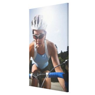 Cyclist on mountain road canvas print