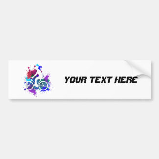 Cyclist on Multicolored Paint Splatters V3 Bumper Sticker