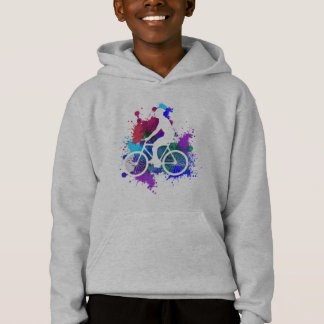 Cyclist on Multicolored Paint Splatters V3 Hoodie