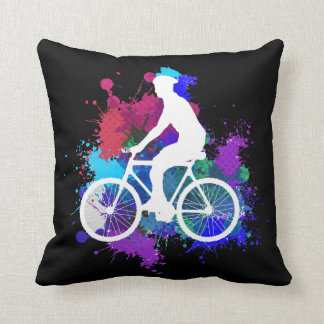 Cyclist on Multicolored Paint Splatters V3 Throw Pillow