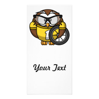 Cyclist Owl Toon Drawing Card
