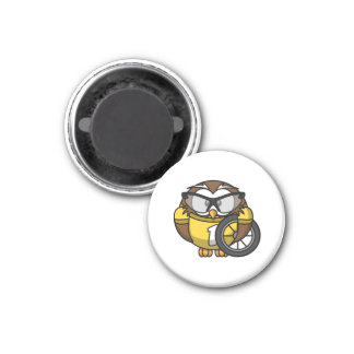 Cyclist Owl Toon Drawing Magnets